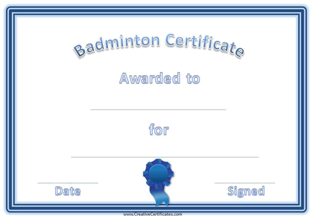badminton certificates