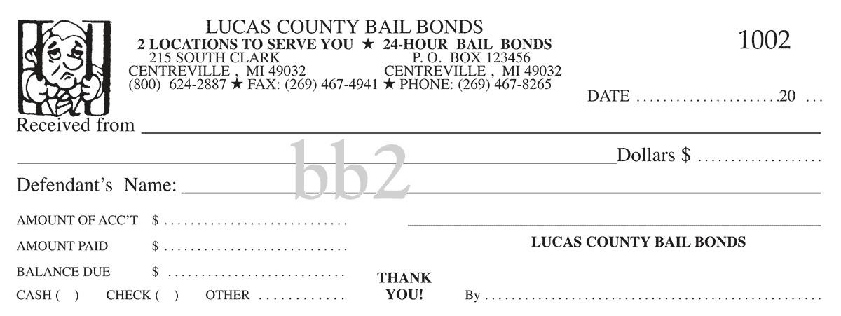 bail bond bailbonds carbonless receipt books pads custom receipts personalized