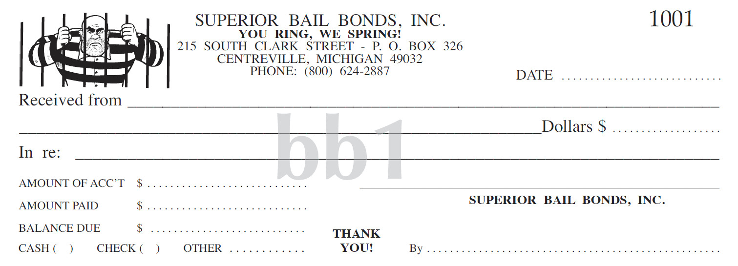Bail Bond Receipt Template Superior Receipt Book Company Printing Services Bail Bonds