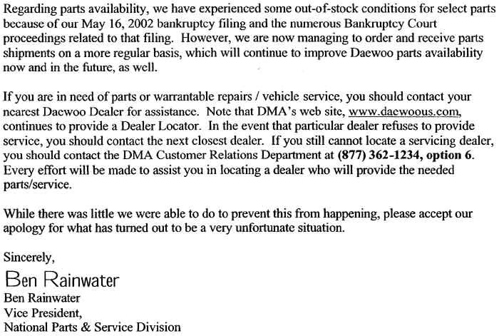 bankruptcy explanation letter