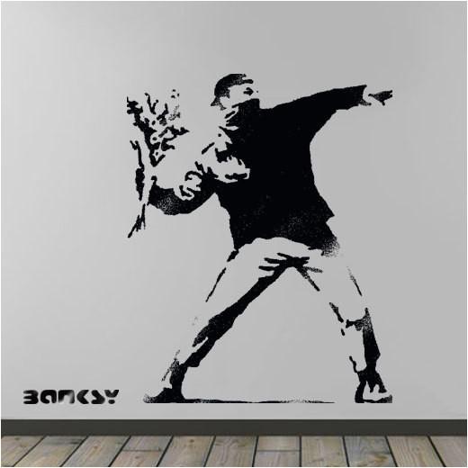 banksy flower thrower stencil huge life