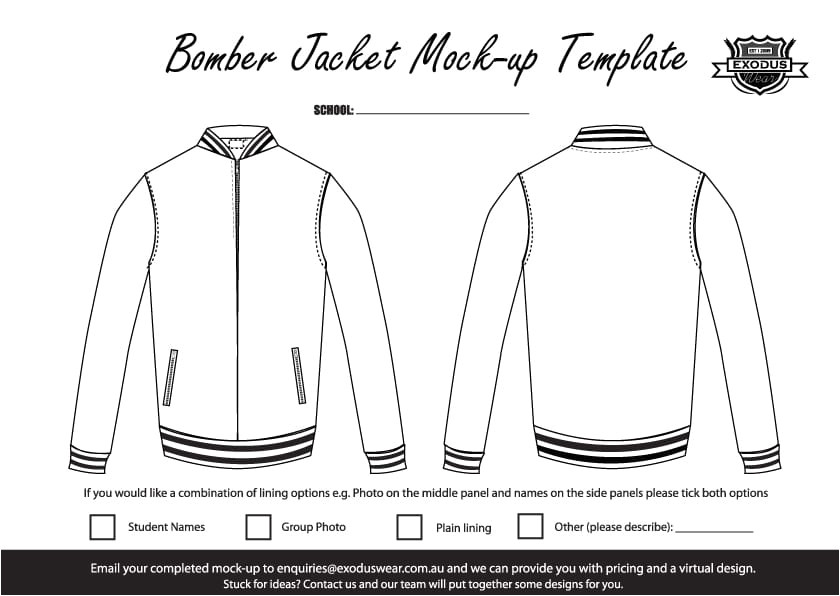 Baseball Jacket Template Design Your Own Custom Bomber Jacket with Your
