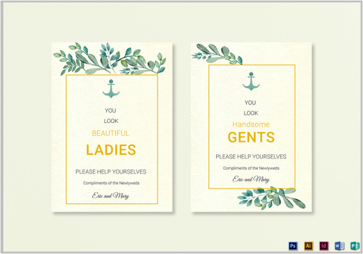 wedding bathroom sign templates