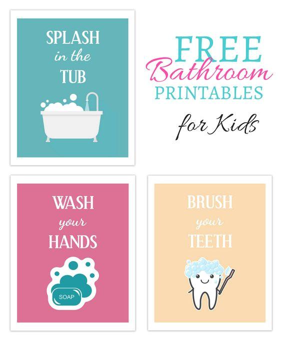 kids bathroom art free printable set