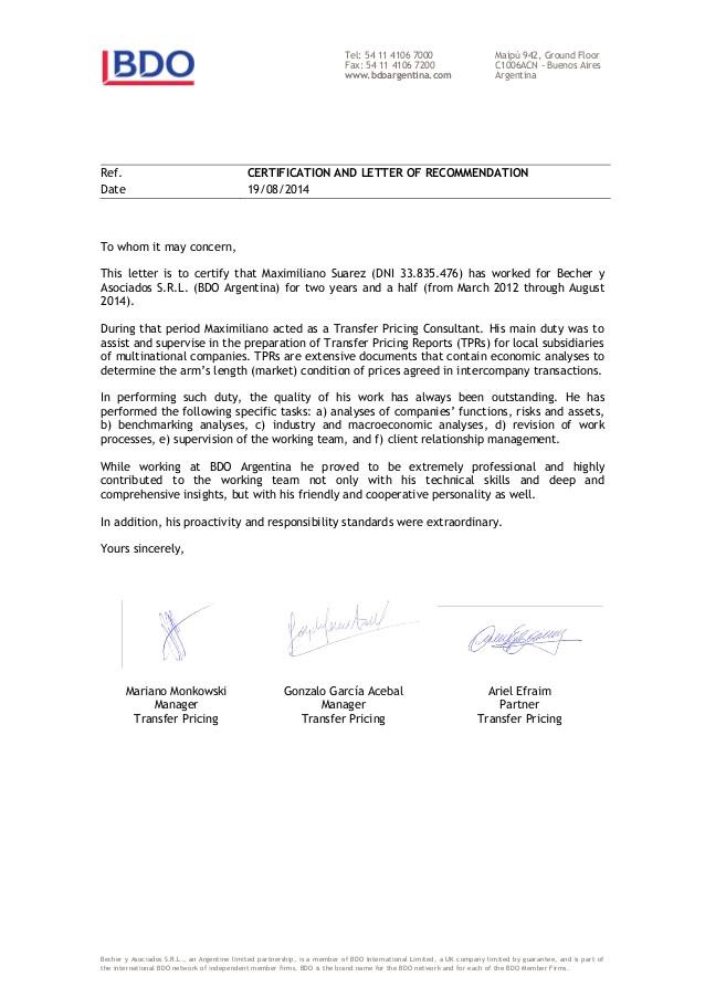 Bdo Cover Letter Letter Of Recommendation Maximiliano Suarez Bdo
