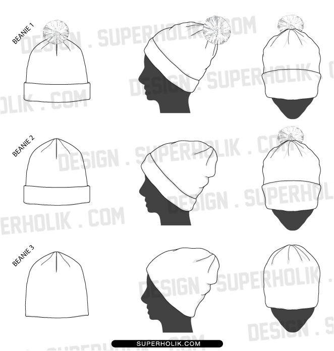 Beanie Design Template Fashion Design Templates Vector Illustrations and Clip