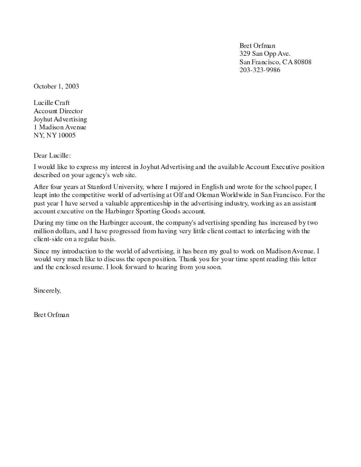 cover letter sample for advertising account executive