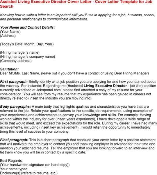 Best Cover Letter for Executive Director Position Senior Living Executive Director Cover Letter Sample