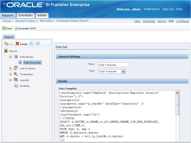 Bi Publisher Data Template Example oracle Business Intelligence Publisher Report Designer 39 S Guide