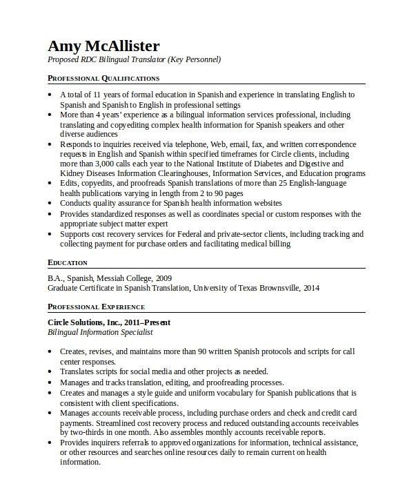 bilingual teacher resume