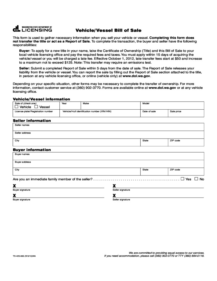 free vehicle bill of sale form washington