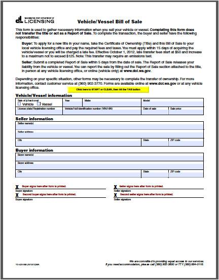 Bill Of Sale Template Wa Washington Vehicle Bill Of Sale form Free Fillable Pdf forms