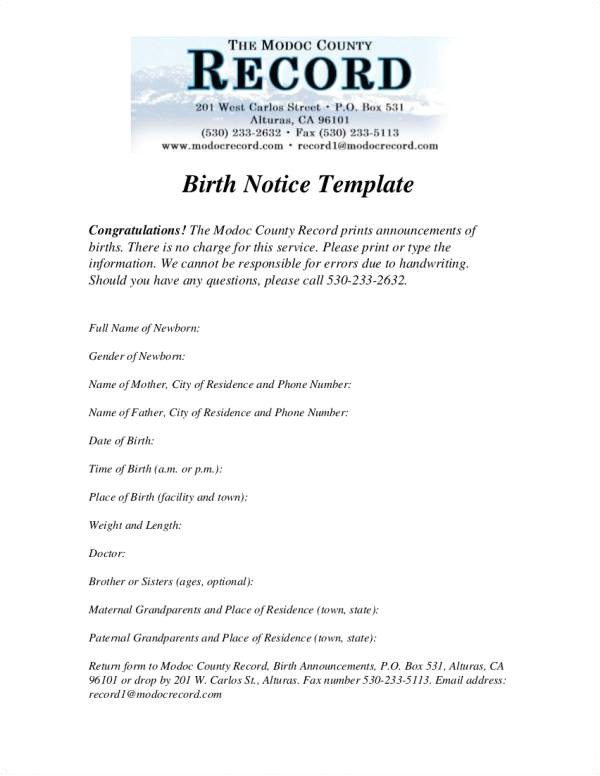 birth notice templates