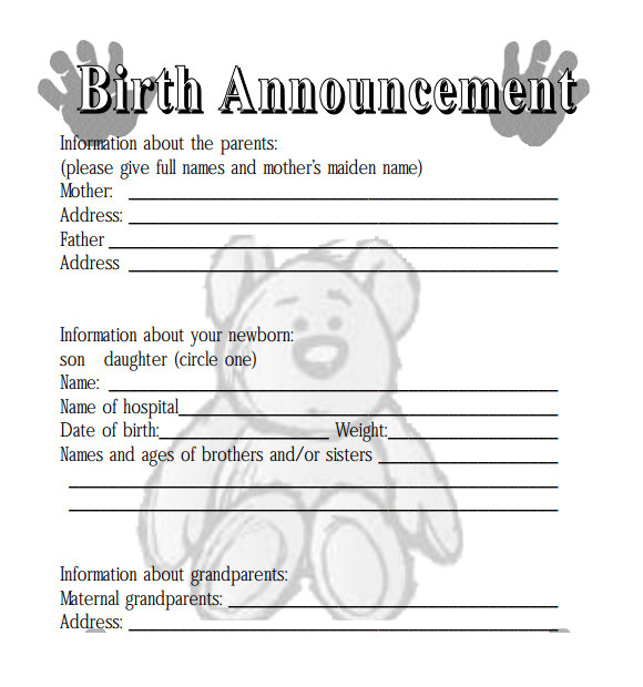 Birth Notice Template 8 Birth Announcement Templates Sample Templates