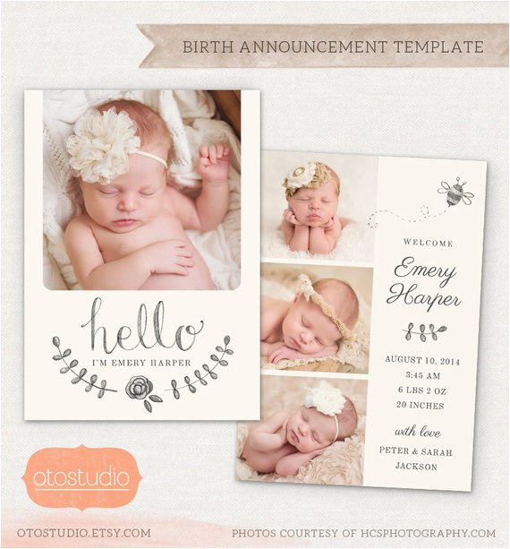 birth announcement template pencil bee