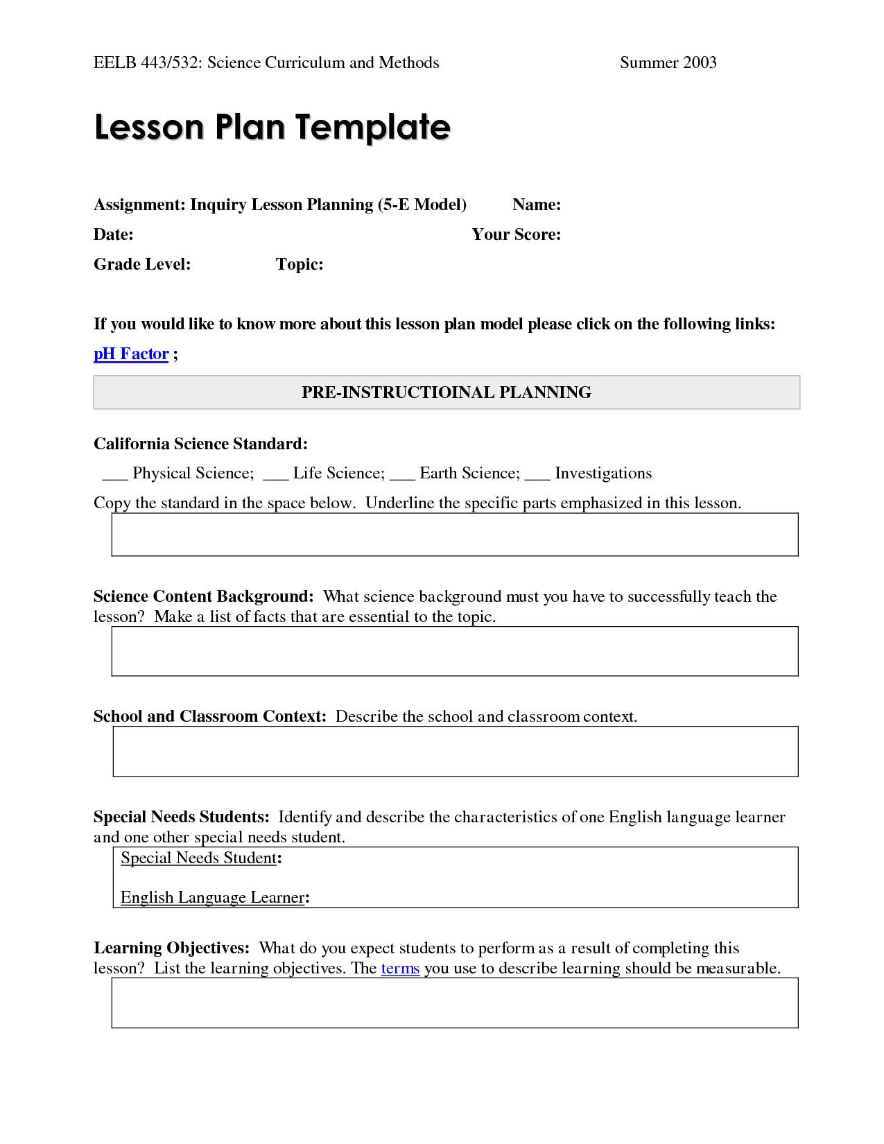 post blank 5e lesson plan 840952