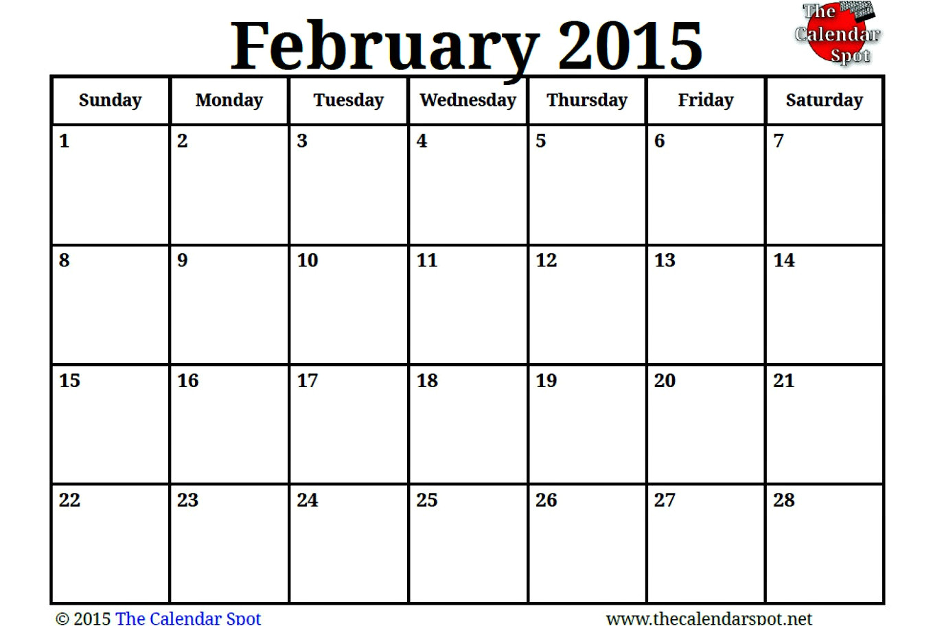 Blank Calendar Template February 2015 7 Best Images Of Blank Feb 2015 Calendar Printable Blank