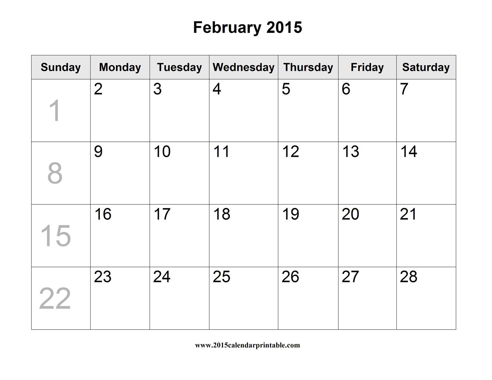 Blank Calendar Template February 2015 Blank Printable Calendar 2015 2017 Printable Calendar