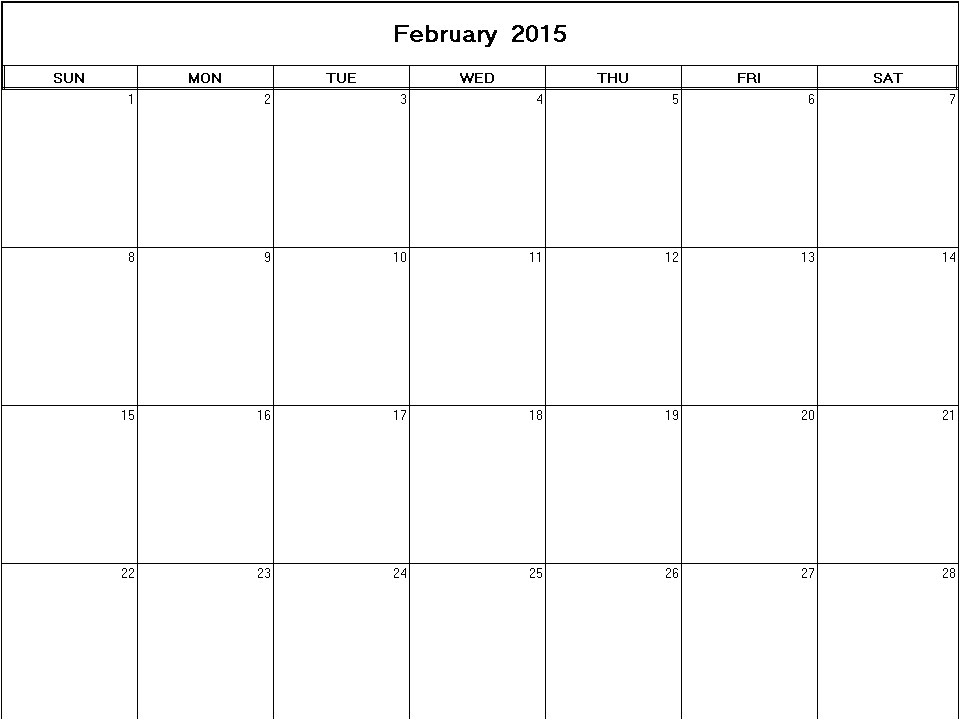 Blank Calendar Template February 2015 February 2015 Printable Blank Calendar