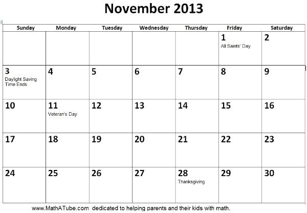 post november 2013 monthly calendar printable 428643