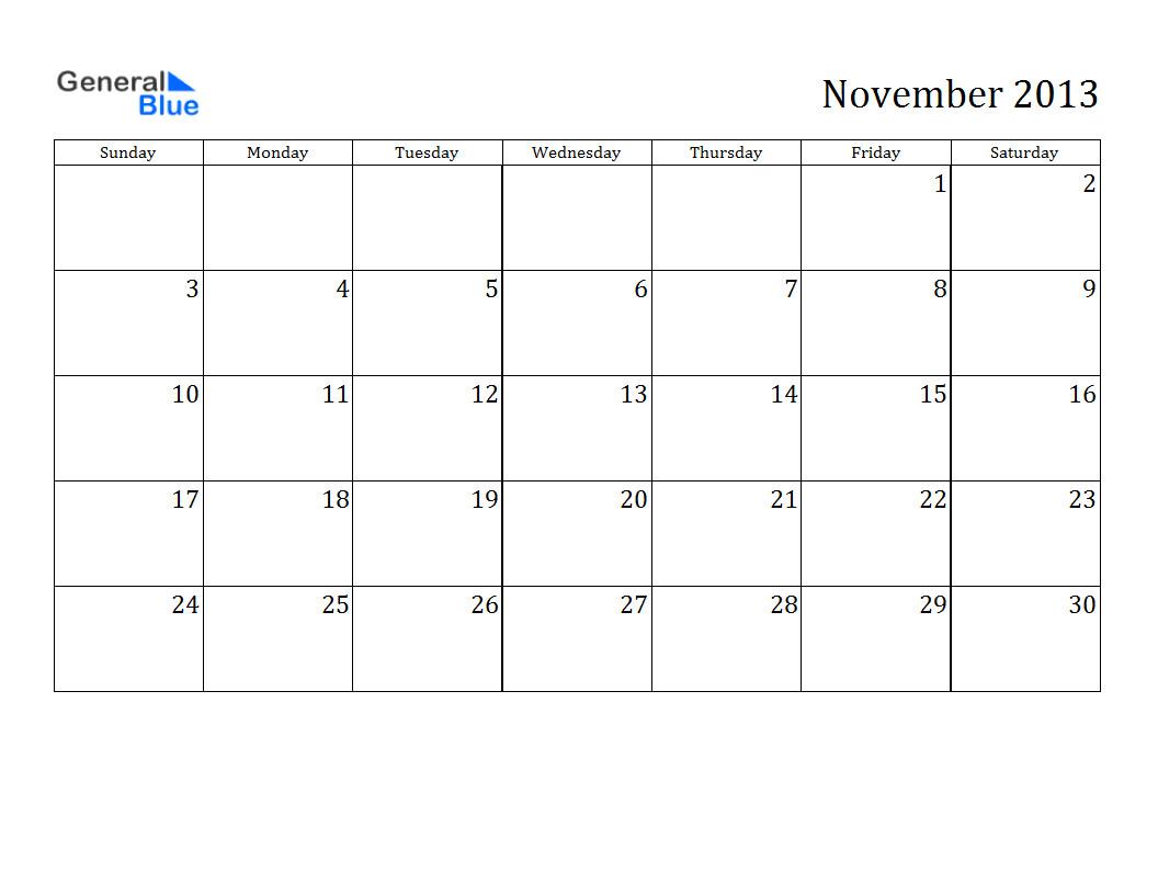 free printable calendar november 2013