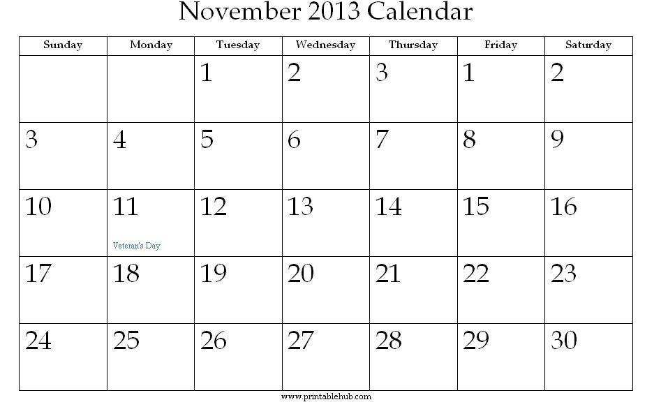 printable november 2013 calendar