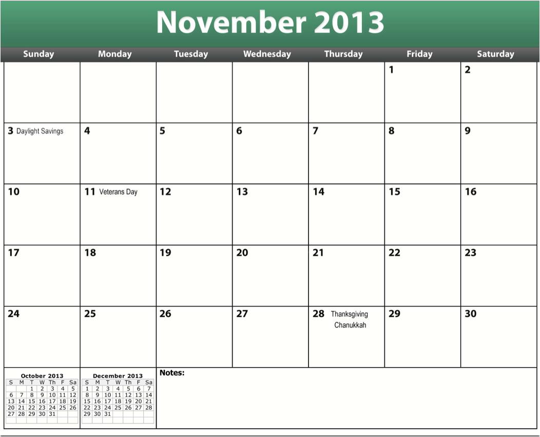 Blank Calendar Template November 2013 Printable Pdf November 2013 Calendar
