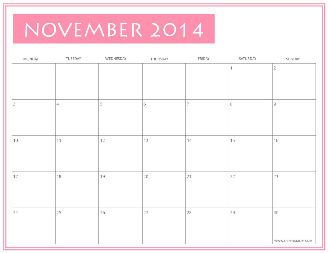 Blank Calendar Template November 2014 Free Printable November 2014 Calendars by Shining Mom