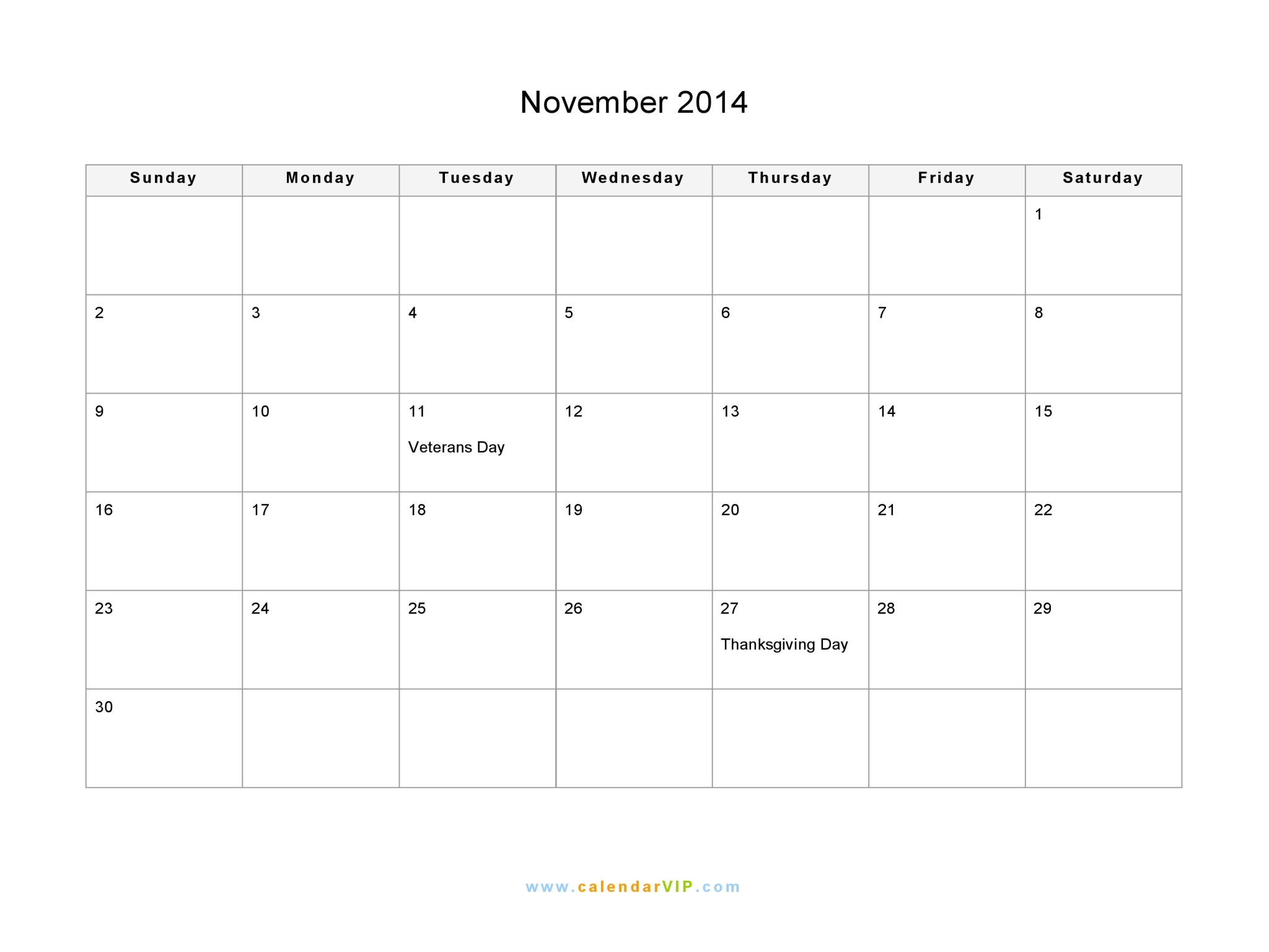 Blank Calendar Template November 2014 November 2014 Calendar Blank Printable Calendar Template