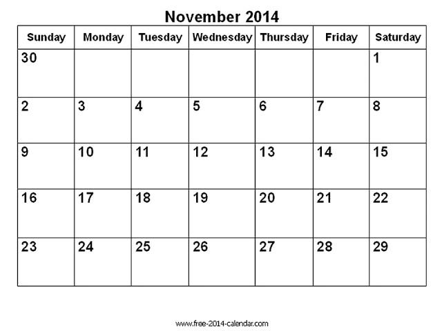 Blank Calendar Template November 2014 November 2014 Calendar Printable Blank Printable