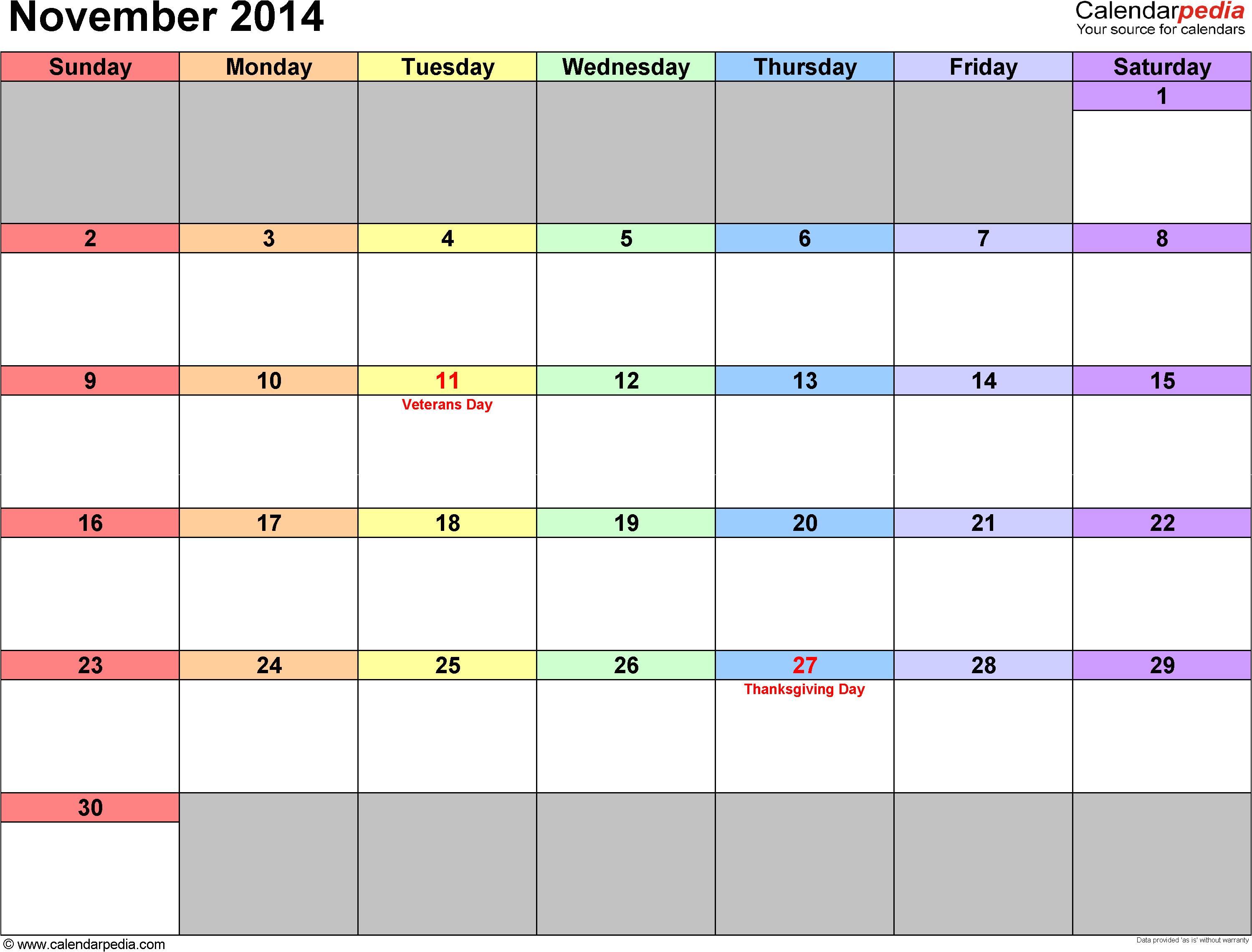 Blank Calendar Template November 2014 November 2014 Calendars for Word Excel Pdf