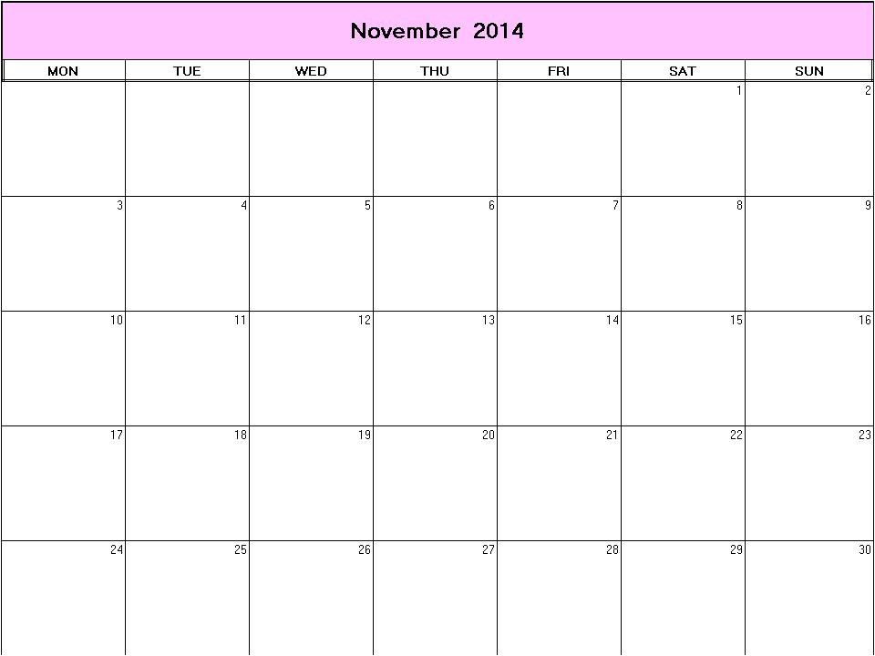 Blank Calendar Template November 2014 November 2014 Printable Blank Calendar