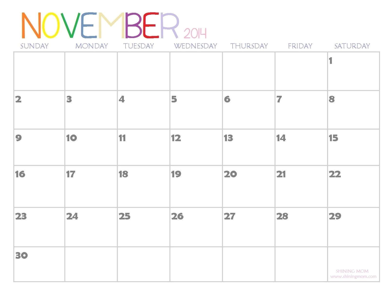 Blank Calendar Template November 2014 November 2014 Printable Calendar Freepsychiclovereadings Com