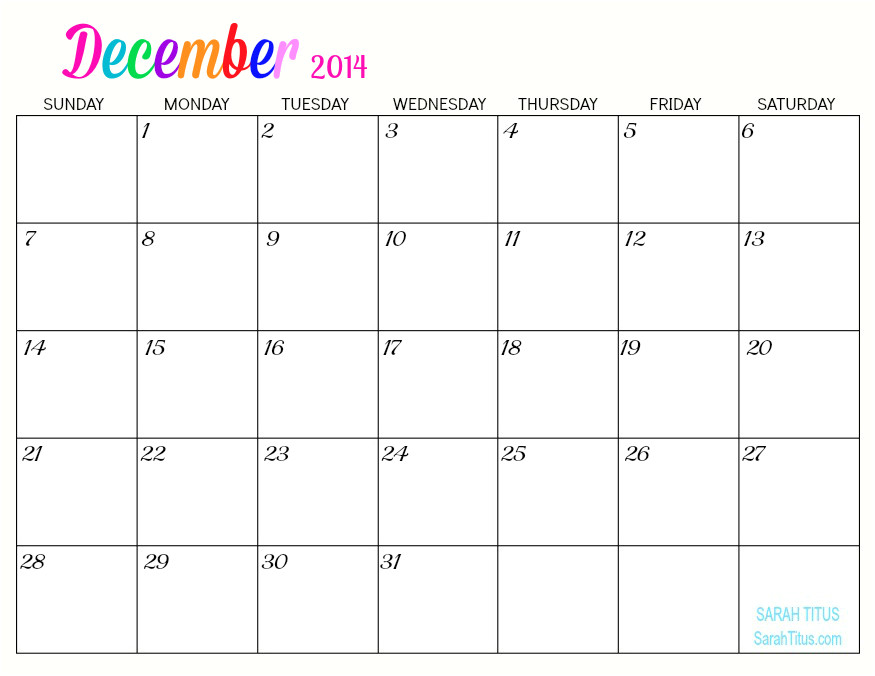 Blank December 2014 Calendar Template 5 Best Images Of Free Online Printable Blank Calendars