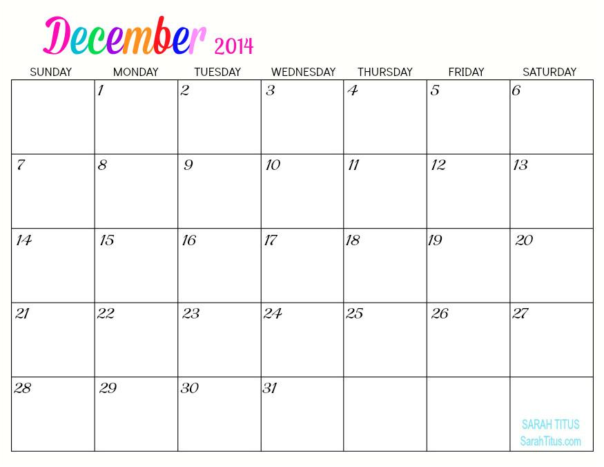 Blank December 2014 Calendar Template 5 Best Images Of Free Online Printable Blank Calendars