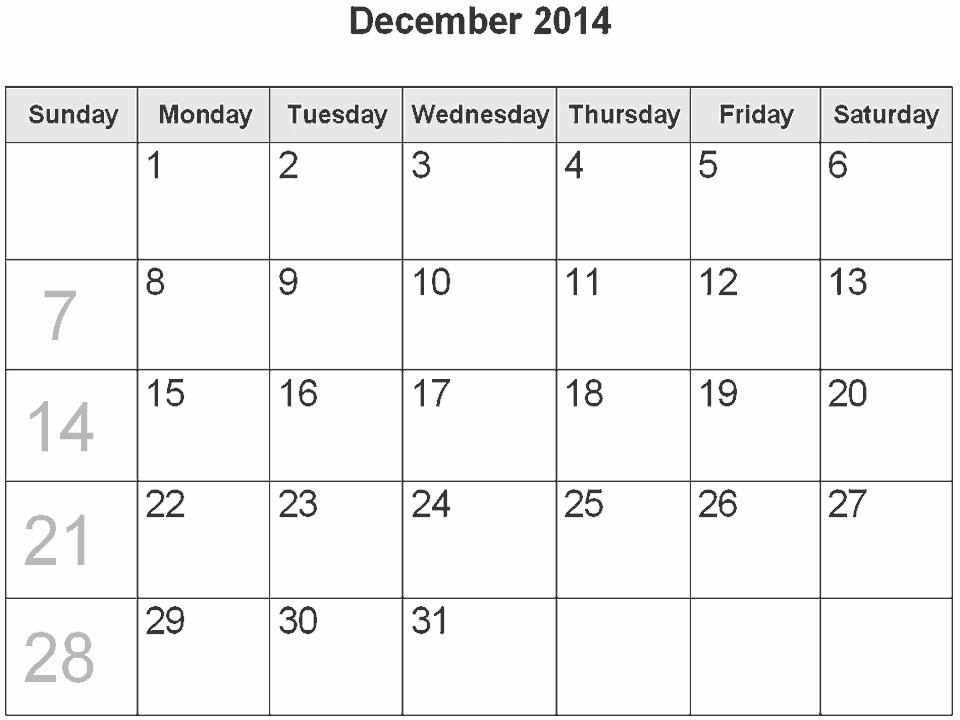 blank december 2014 calendar template