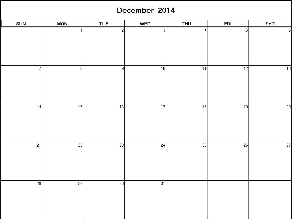 Blank December 2014 Calendar Template December 2014 Printable Blank Calendar