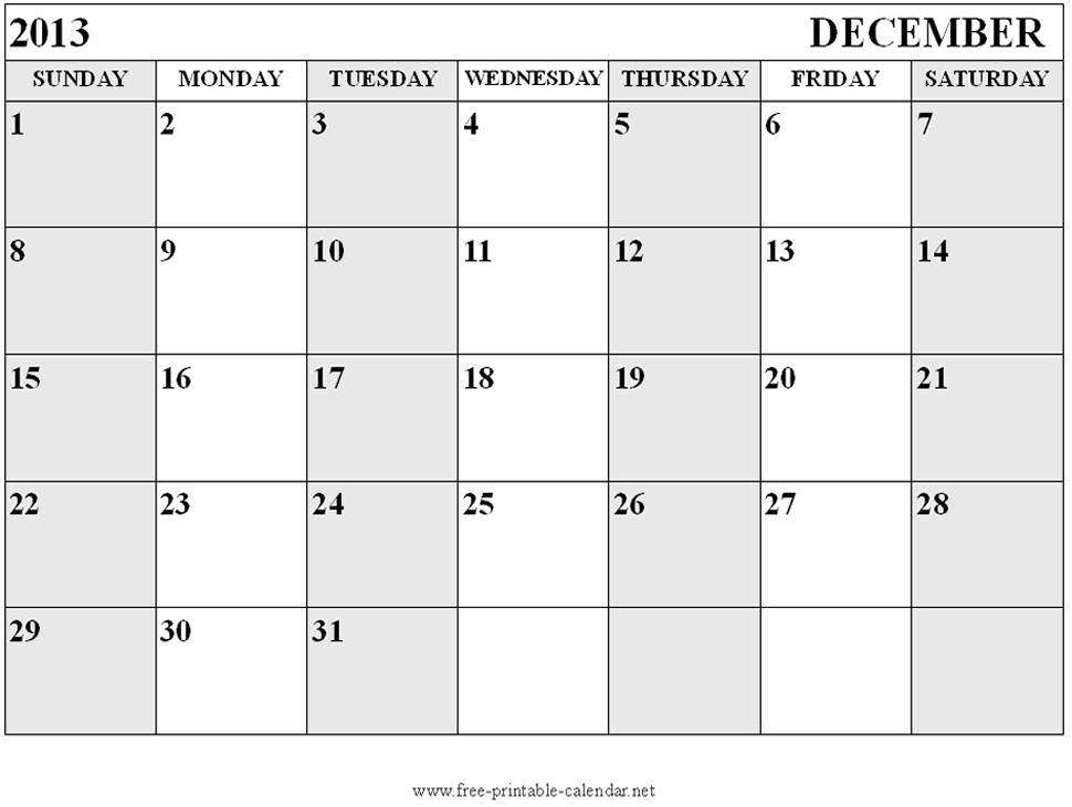 december blank calendar 2013