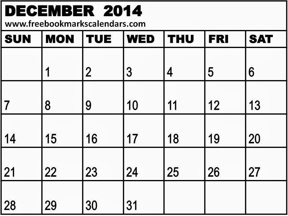 printable blank calendar december 2014