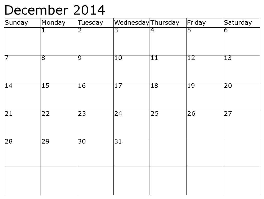 printable december 2014 calendar to write in