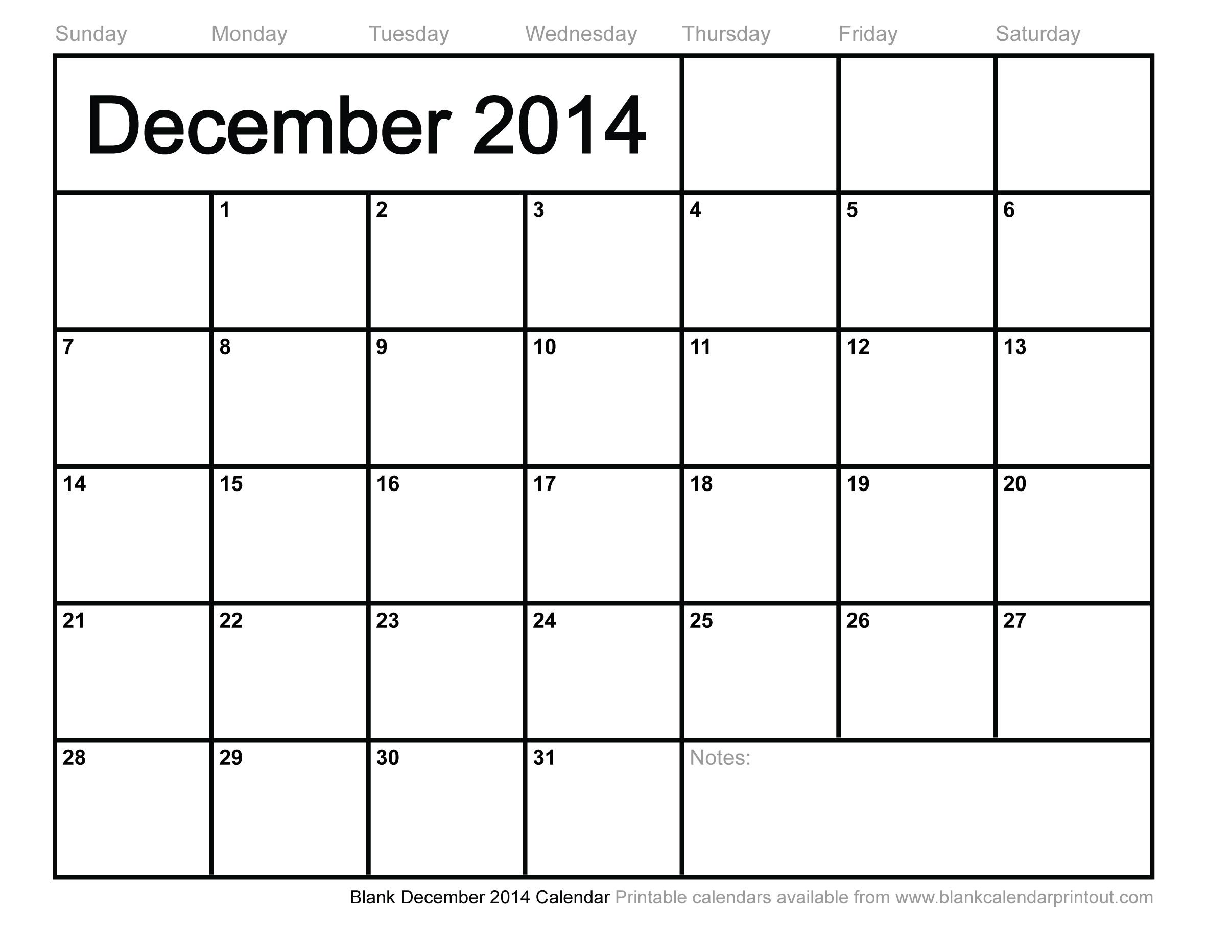 blank december calendar 2014