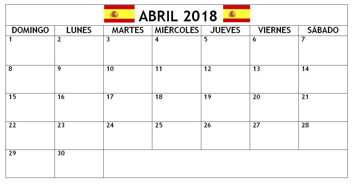 april 2018 calendars in spanish language
