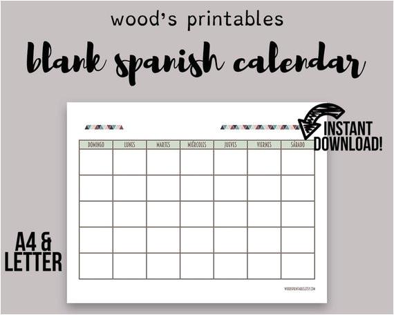 blank spanish calendar printable