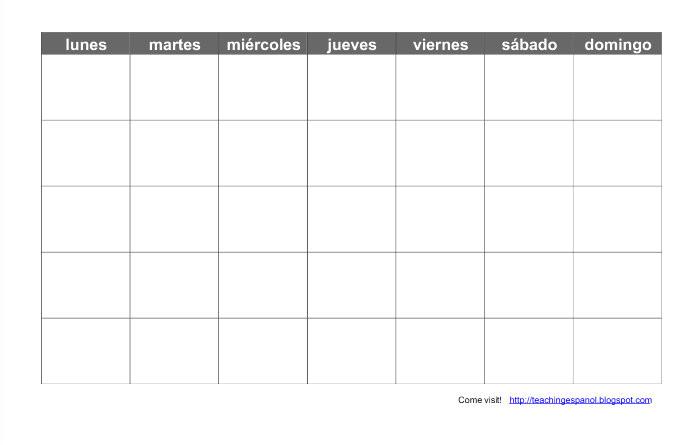Blank Spanish Calendar Template Teaching Espanol Print A Blank Spanish Calendar