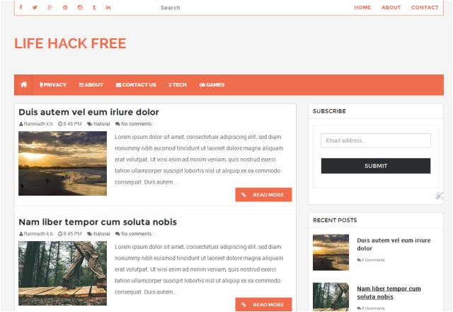 lifehack free responsive blogger