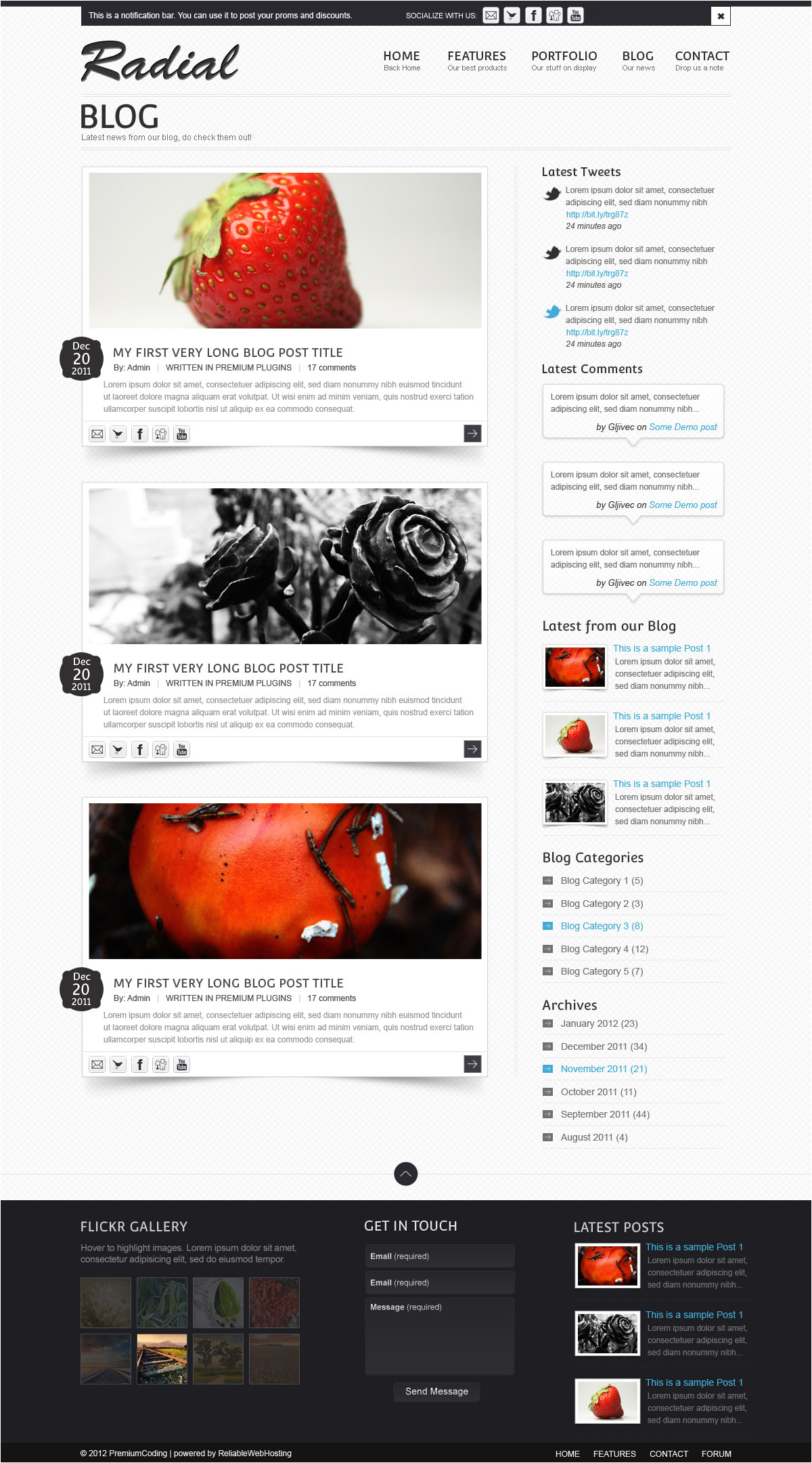 freebie radial blog site template psd