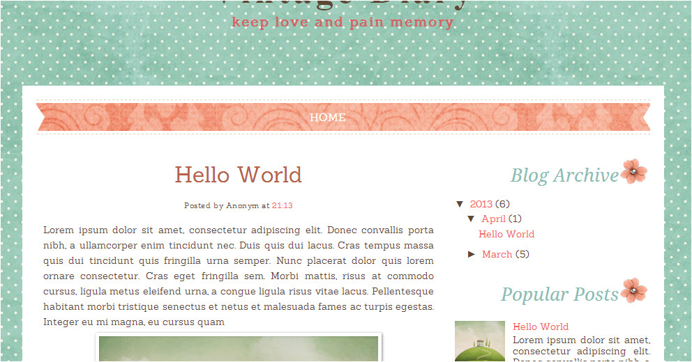 Blogspot Templates HTML Vintage Diary Free Blog Template Ipietoon Cute Blog Design
