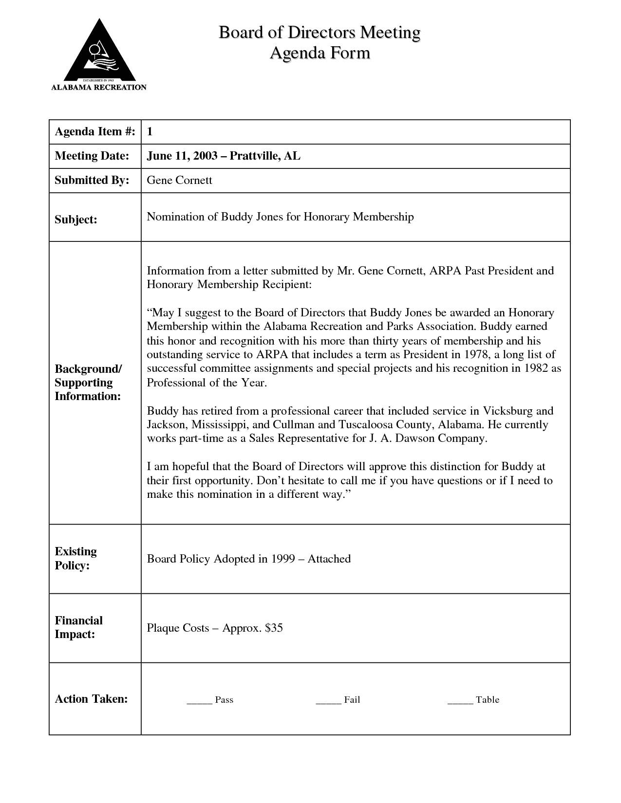 Board Member Application Template Agenda Template Category Page 2 Efoza Com