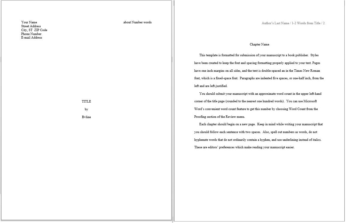 evaluating predefined manuscript templates in word