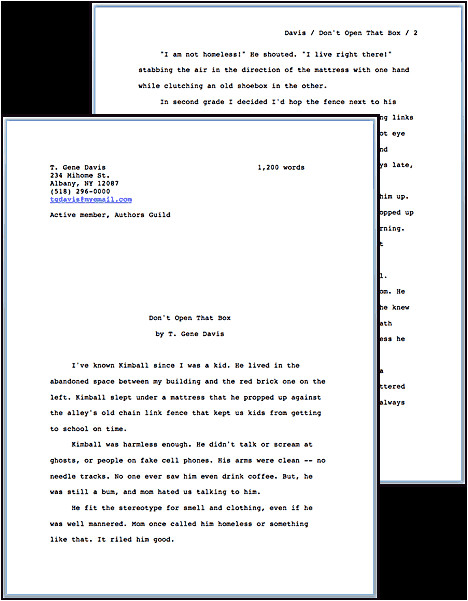 standard manuscript format
